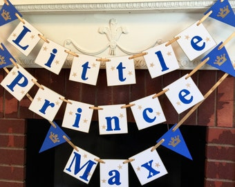 Little Prince Baby Shower Decor - Little Prince on the Way - Little Prince Inspired Decor - Prince Banner - Gold Royal blue - custom colors