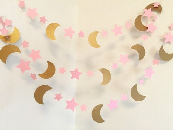 the moon and back baby shower decorations pink gold moon and stars