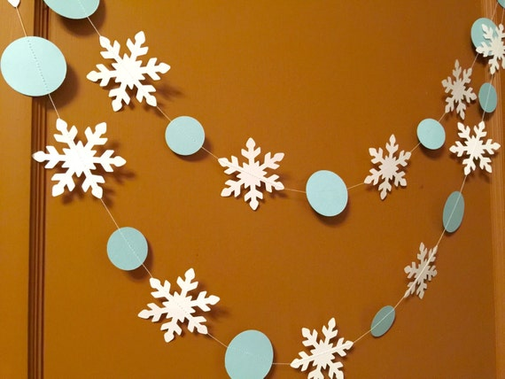 White Christmas Classroom Decorations : Blue and white snowflake garland holiday decorations