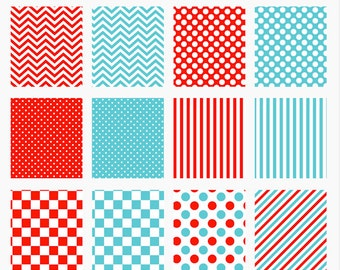 digital papers red turquoise polka dots stripes chevron - Red and Turquoise Papers