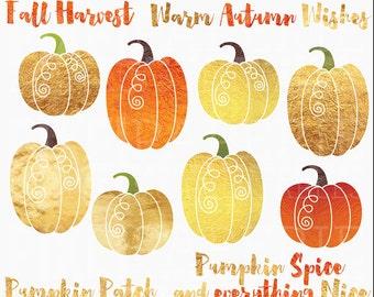 pumpkin clipart foil digital clip art - Foil Pumpkins Digital Clipart