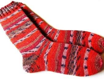 Hand knit Womens socks size UK 5 - 6 US  7 -  9 38-39 EU  (small mens) wool socks socks