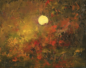Original Oil Painting Landscape Painting Abstract on Canvas by John Shanabrook - 8 x 10 - Equinox