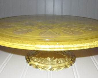 hand painted mustard yellow with pale white polka dots color dessert stand/tid bit plate stand/cake stand