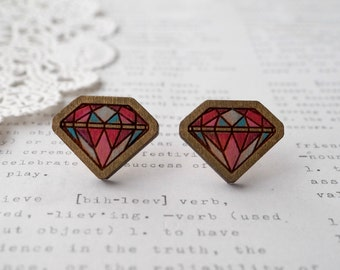 Pastel Hand Coloured Wooden Diamond Geometric Stud Earrings