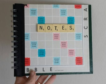 Scrabble Notebook handmade from a Scrabble Game Board