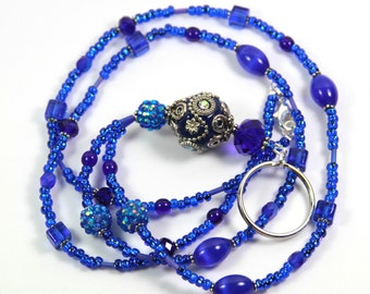 BLUE SPARKLY - Beaded Badge Holder Beaded Lanyard