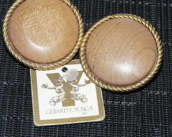 Gerard Yosca Wood Clip Earrings with Original Tag