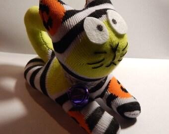 Upcyle sock Scaredey sock kitten Halloween colors rag doll sock animal spooky cat