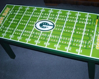 Cribbage Board Coffee Table, Football Cribbage Table, College, Cribbage Board, Cribbage Table, Game Table, Football team, Man Cave Furniture