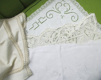 3 Handmade Lace Table Runners and Table Cloth
