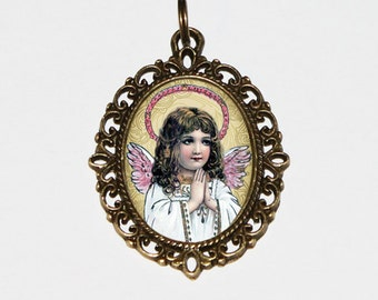 Praying Angel Necklace, Angel Jewelry, Oval Pendant
