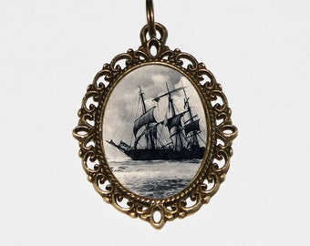 Pirate Ship Necklace, Pirate Jewelry Pirates, Oval Pendant