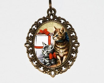 Christmas Cat Necklace, Cat Jewelry, Christmas Presents, Holiday Gift, Bronze Oval Pendant