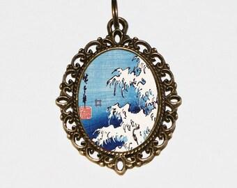 Waves Necklace, Ocean Jewelry, Japanese, Woodblock Art, Sea, Beach, Wave, Ukiyo-e, Oval Pendant