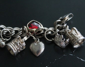 Sterling silver Charm bracelet 16 charms - Crowns