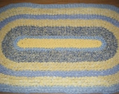 Baby Blue and Yellow Oval Rug\\Blue and Yellow Area Rug