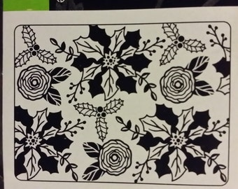 POINSETTIA HOLLY  Embossing Folder by Darice