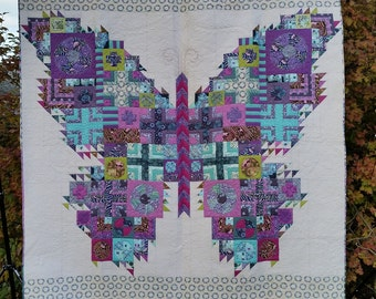 "THE BUTTERFLY Quilt 88"" X 94"" Tula Pink Fabrics Acacia, Fox Field, Salt Water, The Birds & The Bees"