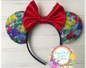 Custom Disneyland Mickey Mouse Balloons Mouse Ears with Red Satin Bow!!