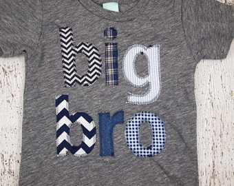 Big Brother shirt big bro tee birth announcement sibling tee chevron plaid houndstooth etc construction children's shirt unique baby gift