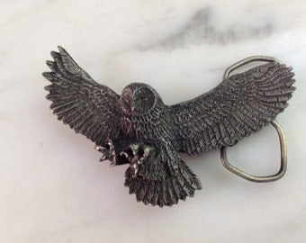 Vintage 1980's Flying Owl Bergamot Brass Works Belt Buckle
