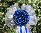Royal Blue Satin Peony Rose Rhinestone PearlsTulle Pew Bows Chair Fence Table Wedding Decoration Decorations Bridal Party