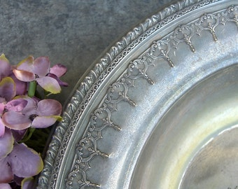 Vintage Rustic Silver Bowl, Ornate Design, Reed & Barton, Shabby Chic Patina, Tarnished Silverplate