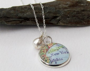 Custom Map Necklace, Map Pendant, Your Location Choice, Map Jewelry