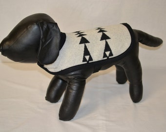tribal DOG COAT black and white arrow Native American design wool - xs extra small dog jacket coat costume sweater