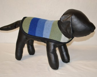 Rocky Mountain National Park Blanket DOG COAT jacket sweater - for a extra small, small, toy, miniature dog - striped sage