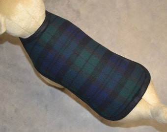Wool Dog Coat - Black Watch Tartan Plaid Dog Coat Jacket Sweater handmade of Portland fabric -  Spring Dog Coat -  scotty scottie dog