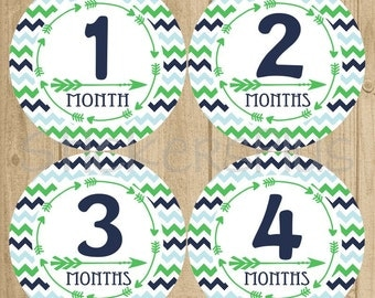 Baby Boy Month Stickers Milestone Monthly Newborn Photo Bodysuit One Piece Number Age Tribal Arrow Chevron Navy Blue Green Stickers