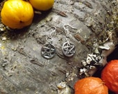 Pentagram Earings - silver pagan witchcraft jewellery earing pentagrams wicca shaman druid spirituality magic