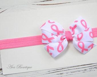Pink Bow Headband - Breast Cancer Awareness Headband - Baby Bow Headband - Hot Pink Polka Dot Bow Headband