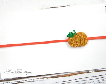 Pumpkin Glitter Headband -  Fall Headband - Baby Pumpkin Headband - Pumpkin Headband