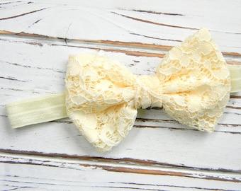 Ivory Lace Bow Headband - Ivory Bow Headband - Baby Bow Headband
