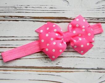 Pink Bow Headband - Newborn Bow Headband - Pink Girls Bow Headband - Hot Pink Polka Dot Bow Headband