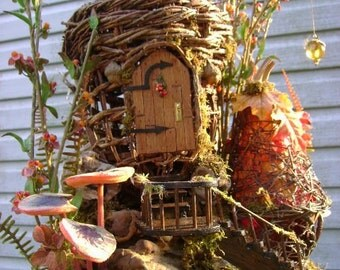 SALE ! OOAK Autumnal Fairy House grapevine, driftwood with twinkling lantern by J. McLaughlin