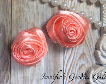 "Set of TWO Peach 2"" Satin Rosette Flower Heads, Rolled Roses Wholesale Mini Rosettes for Baby Headbands"