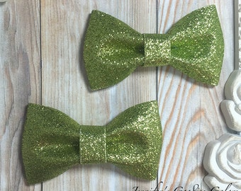 Two APPLE Green Glitter Bows- 3 inch Glitter Bow- Bow Applique- DIY Bows- Bows- Wholesale- DIY Heaband Supply