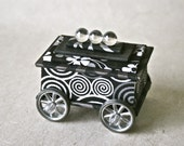 Handmade Box in Black And Silver with Turning Wheels for Gift and Decor