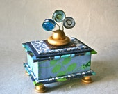 Handmade Gift Box in Blues and Greens for Home or Office Decor