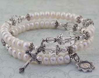 Pearl Rosary Bracelet, White Freshwater Pearls, Swarovski Crystals, Miraculous Medal, Strong Stainless Steel, Five Decade Rosary Bracelet