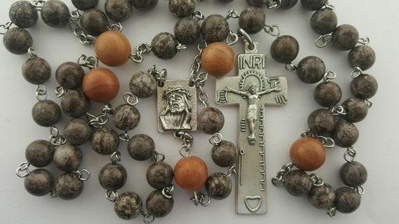 Rosary, Brown Snowflake Jasper, Tigerskin Jasper Gemstone, Penal Crucifix, Ecce Homo Center, Stainless Steel, Handcrafted, Gemstone Rosary