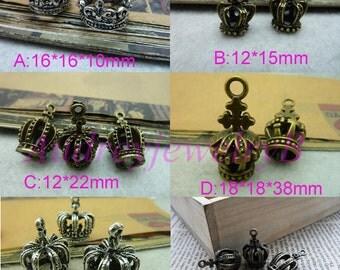 20pcs - Antique Silver / Antique Bronze 3D princess,queen,king Crown Charm Pendant Love Crown Charm Pendant