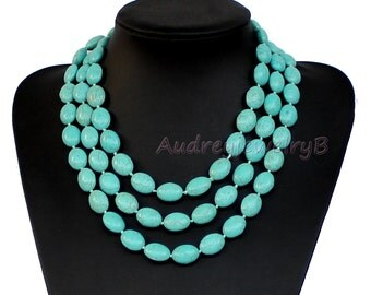 59 inches Long Turquoise bead Necklace Turquoise Necklace Chunky Necklace Bridesmaid Necklace Wedding Party Jewelry Sweaters Necklace