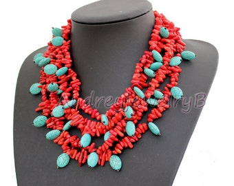 Multi Strand Turquoise coral beads necklace Turquoise necklace Statement Necklace sister gift, friend gift, mothers gift, wedding gift
