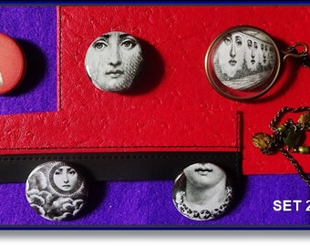 Piero Fornasetti, 5 badges, Pins, Jewelry, Pendants, Necklace, Framed Art, Brooch, Jewellery Supply Set 2
