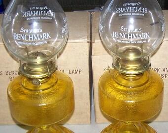 Vintage Seagram's Benchmark Bourbon Advertising Amber Oil Lamps NIB